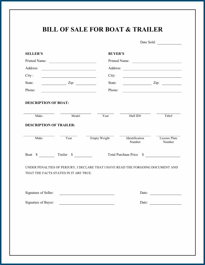 Bill Of Sale Template For Narrow Boat