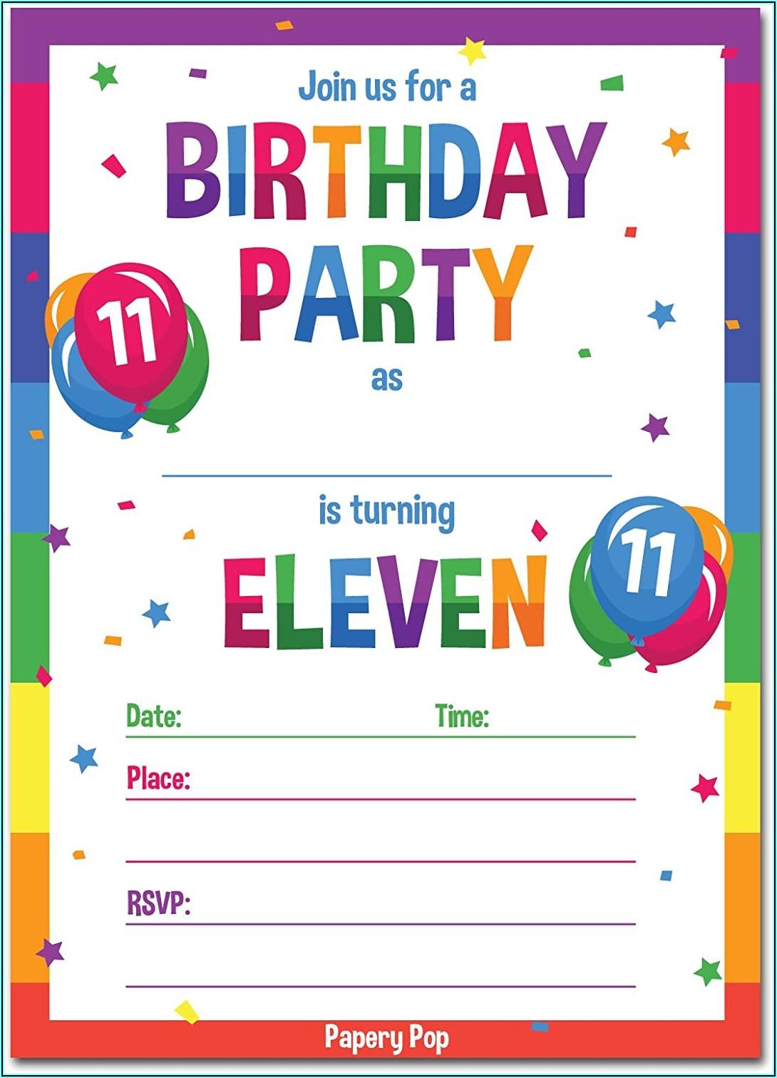 Birthday Invitation Card For 11 Year Girl