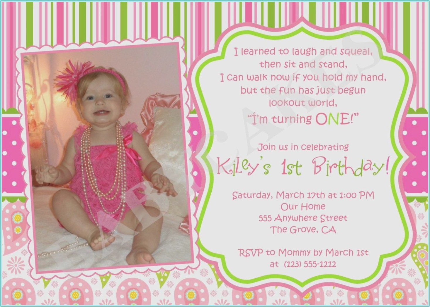 Birthday Invitation Card For Baby Girl