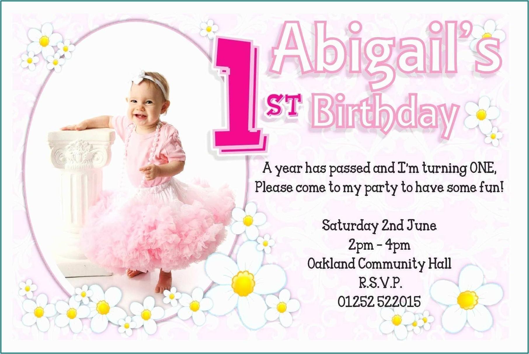 Birthday Invitation Card For Girl