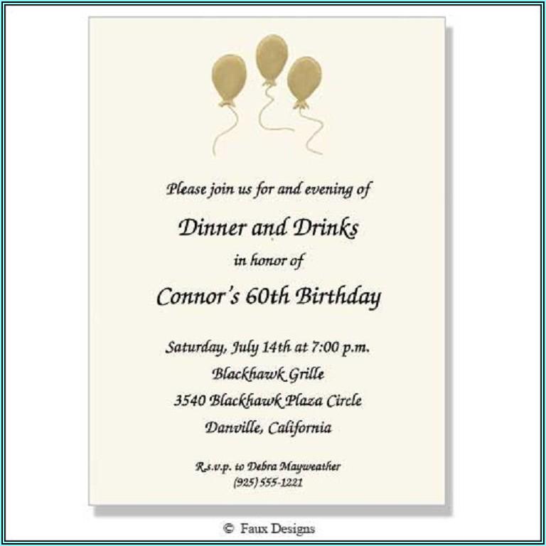 Birthday Party Invitation Text Sample