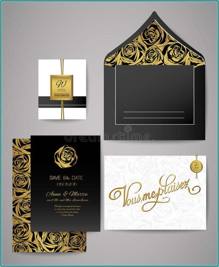 Black And Rose Gold Invitations