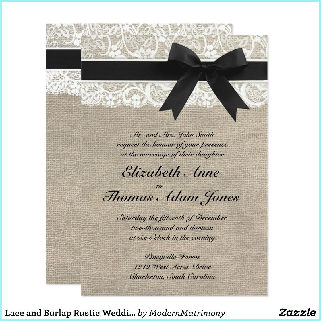 Black Lace And Burlap Wedding Invitations
