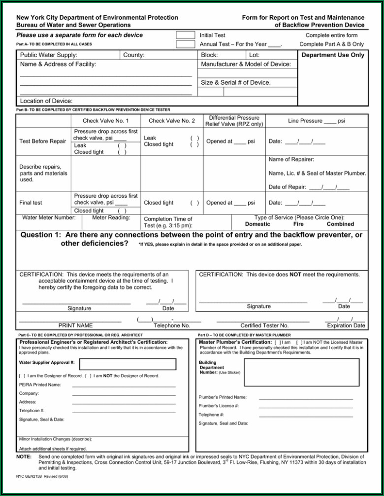 Blank Backflow Test Forms