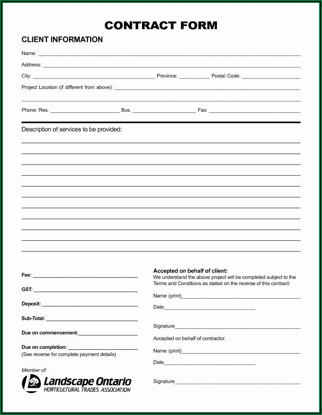 Blank Contractor Proposal Forms