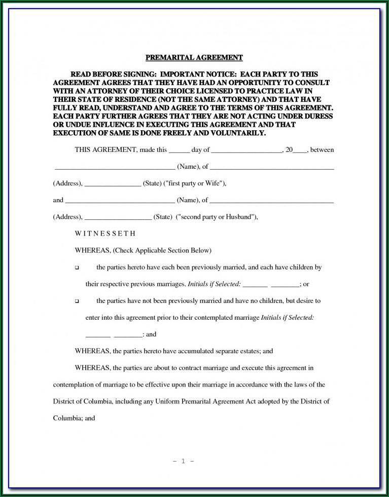 California Prenuptial Agreement Form Pdf