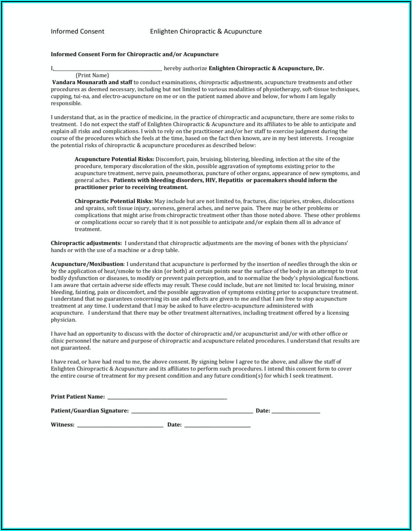Chiropractic Acupuncture Consent Form
