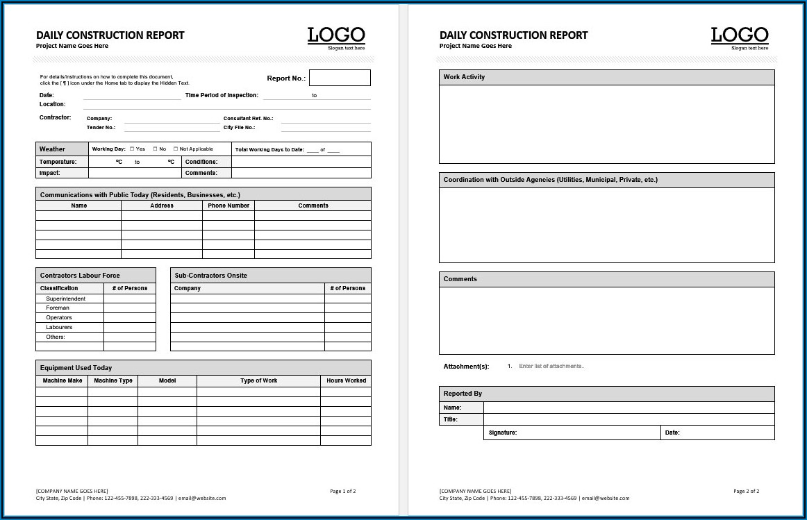 Contractor Free Construction Daily Report Template Excel