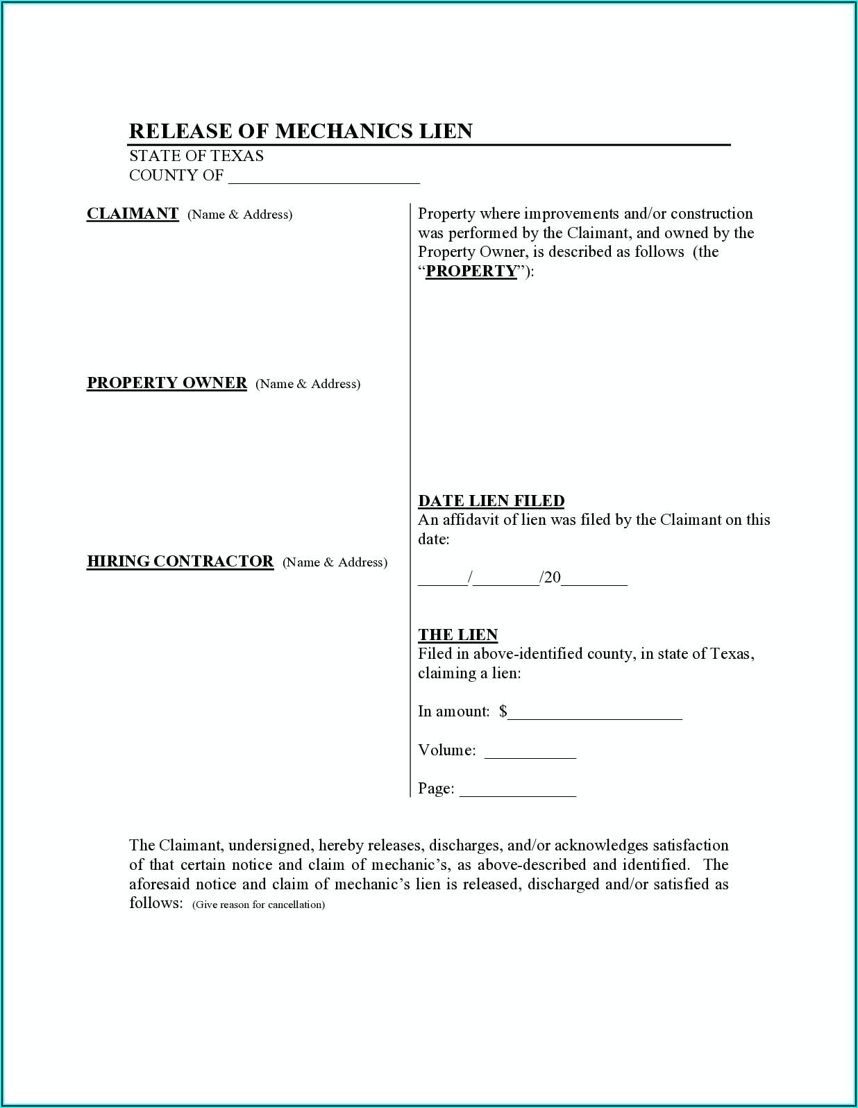 Contractor Lien Release Form Texas
