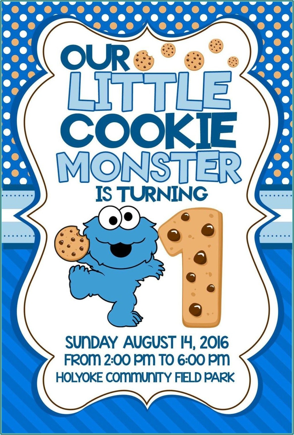 Cookie Monster 1st Birthday Invitations