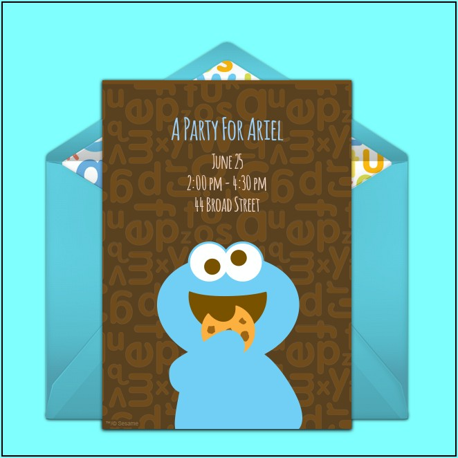 Cookie Monster Baby Shower Invitation Template