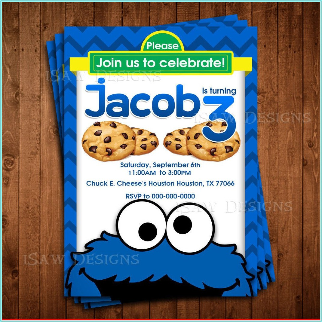 Cookie Monster Birthday Invitations Personalized