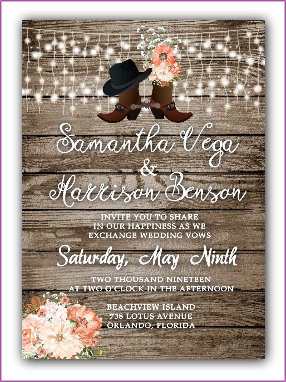 Country Wedding Invitations With Rsvp