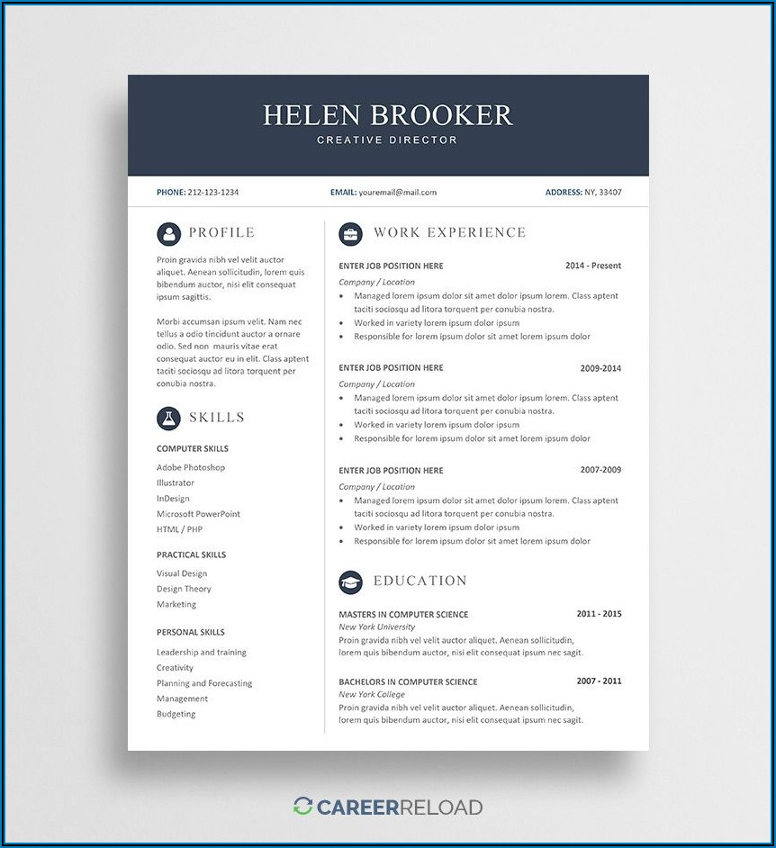 Creative Cv Templates Free Download For Microsoft Word
