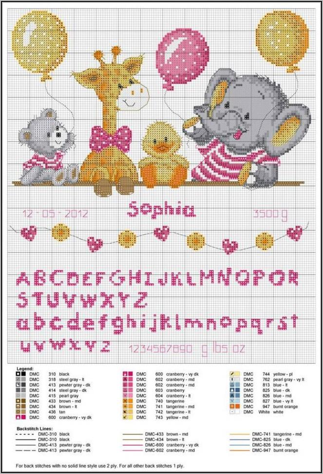 Cross Stitch Birth Record Pattern Free