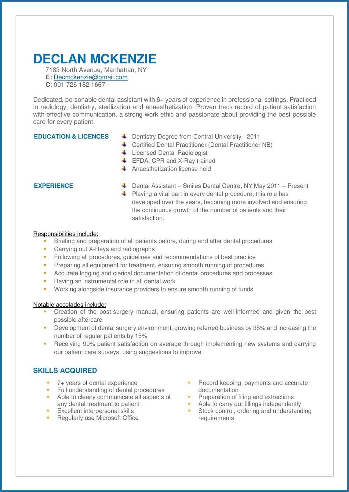 Dental Assistant Job Description And Requirement