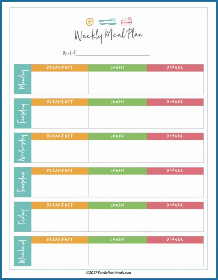 Diabetic Meal Planner Template