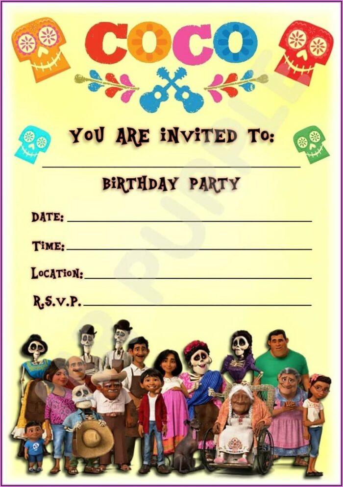 Disney Coco Birthday Party Invitations