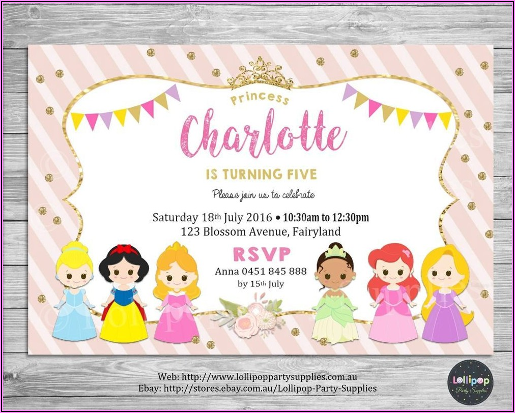 Disney Princess Birthday Invitations Australia