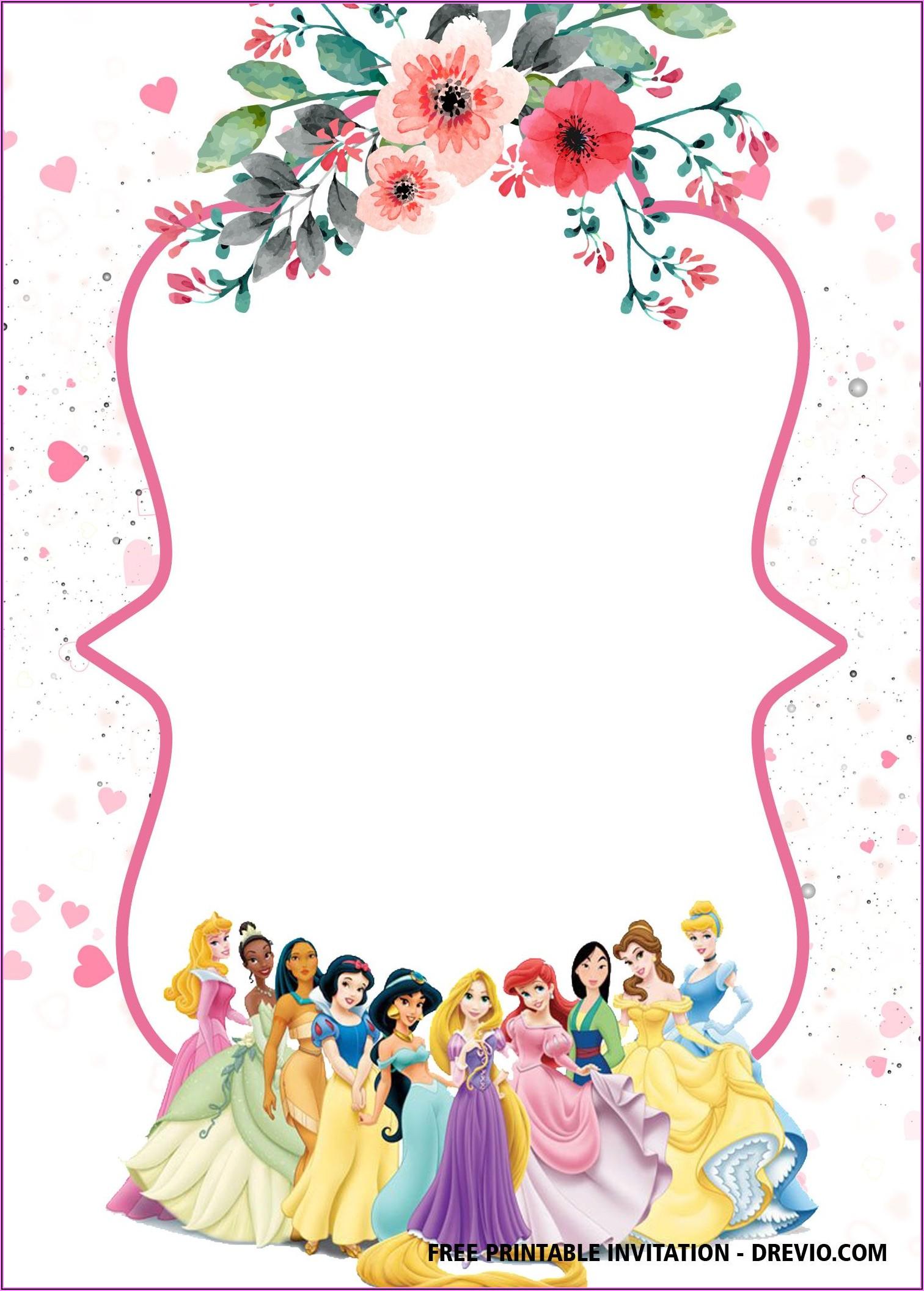 Disney Princesses Invitations Free Printable