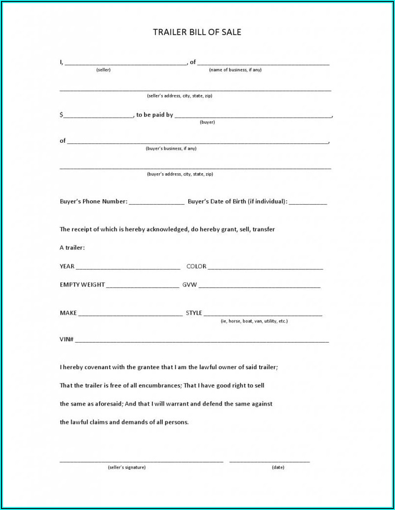 Download Bill Of Sale Form Free