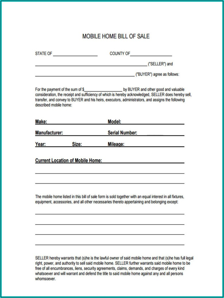 Downloadable Bill Of Sale Form