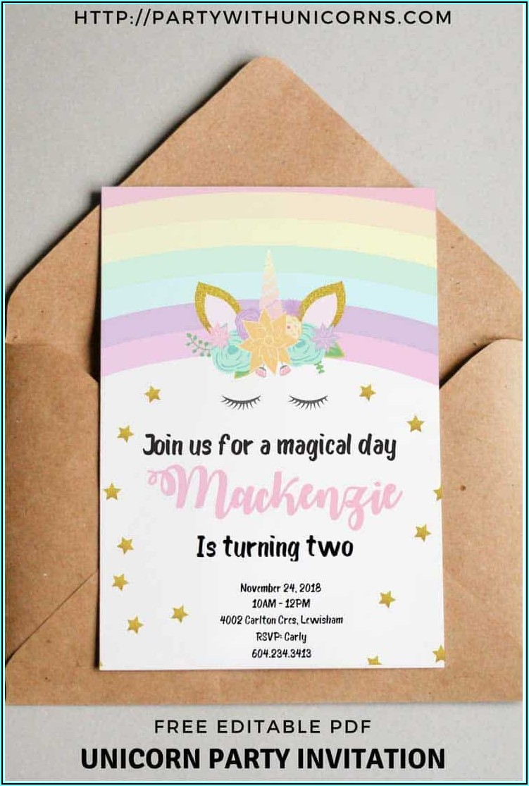 Editable Birthday Invitations Templates Free Unicorn