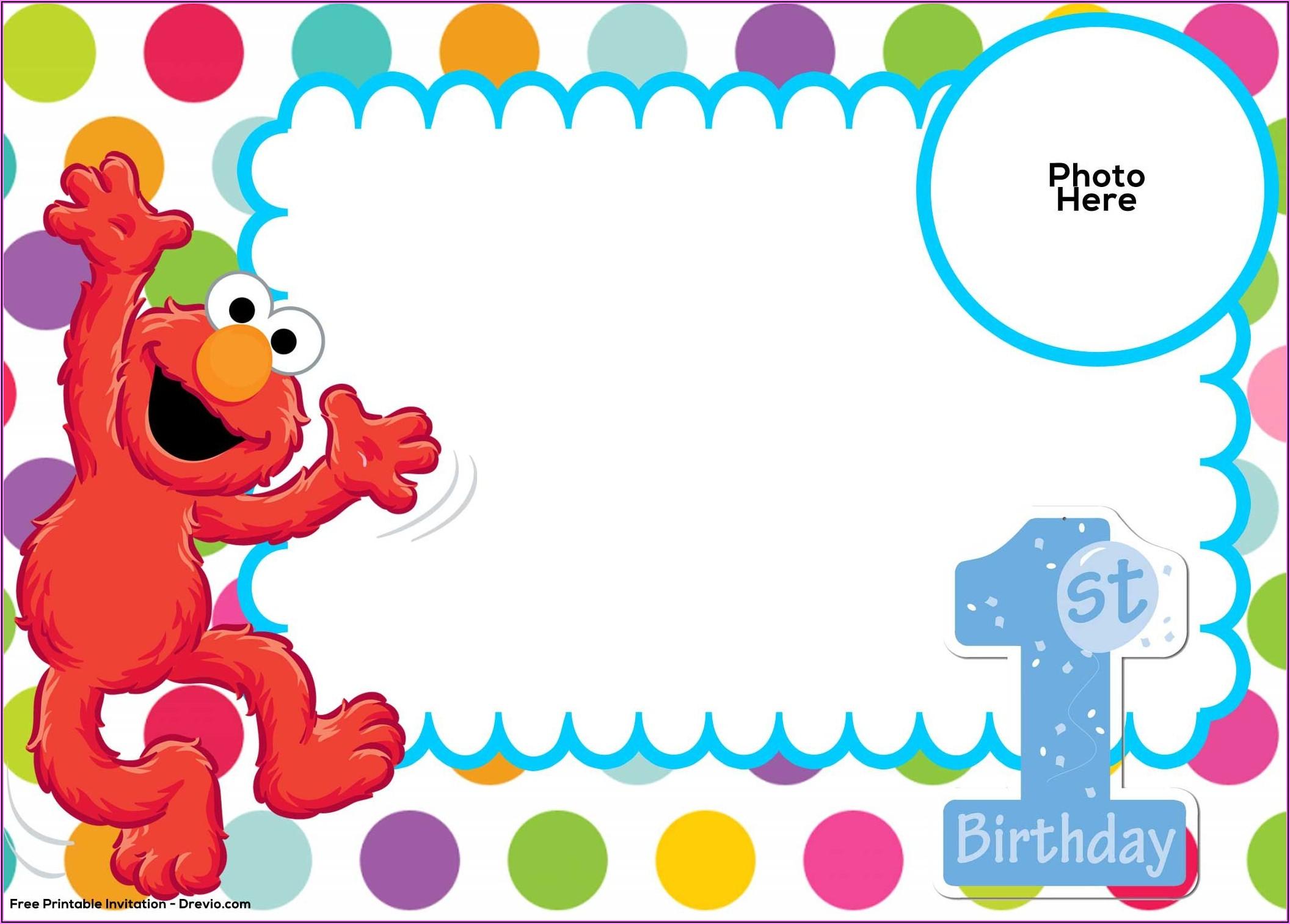 Elmo 1st Birthday Invitations Template