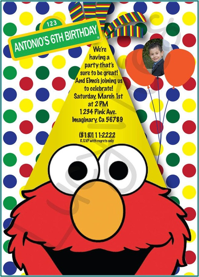 Elmo And Cookie Monster Invitations