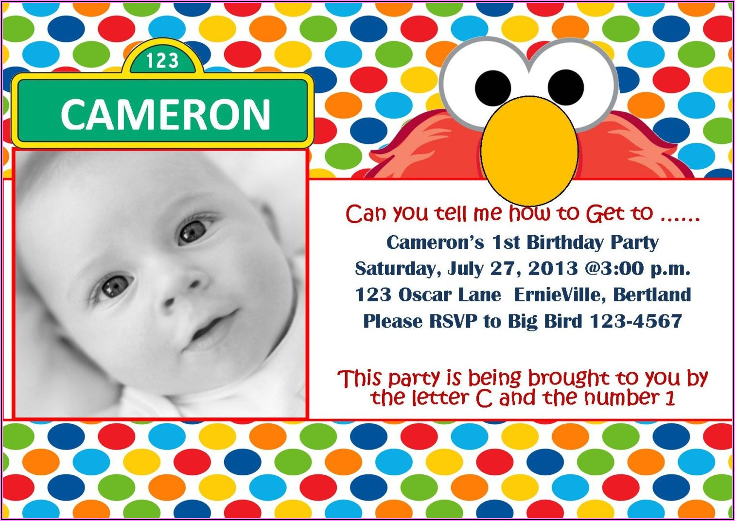 Elmo First Birthday Invitation Wording