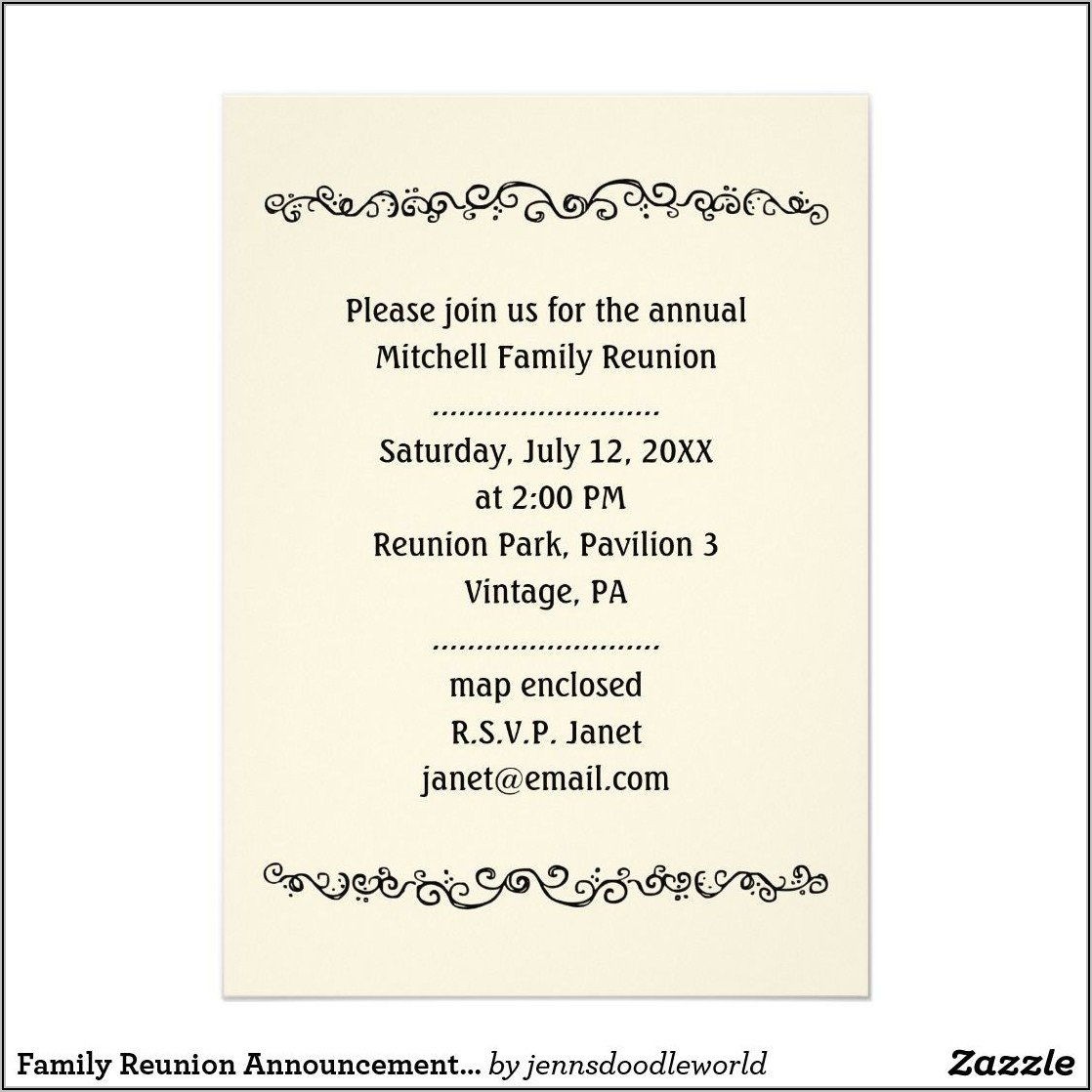 Family Reunion Announcement Template