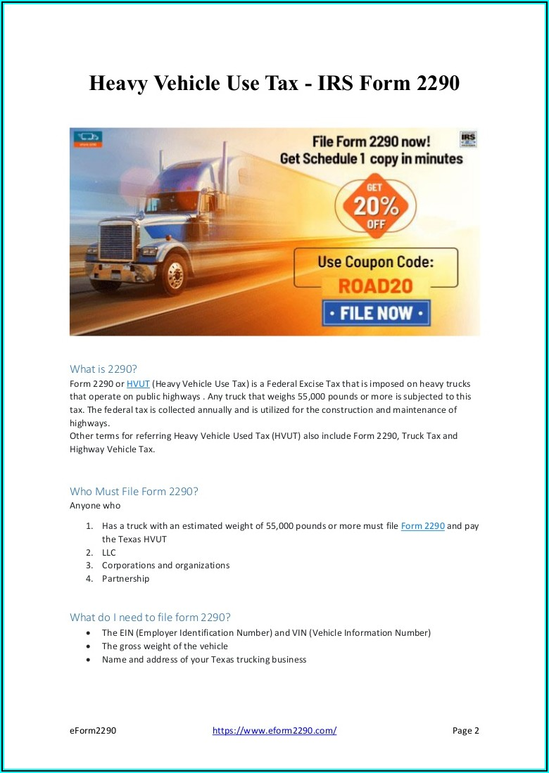 Federal Road Tax Form 2290