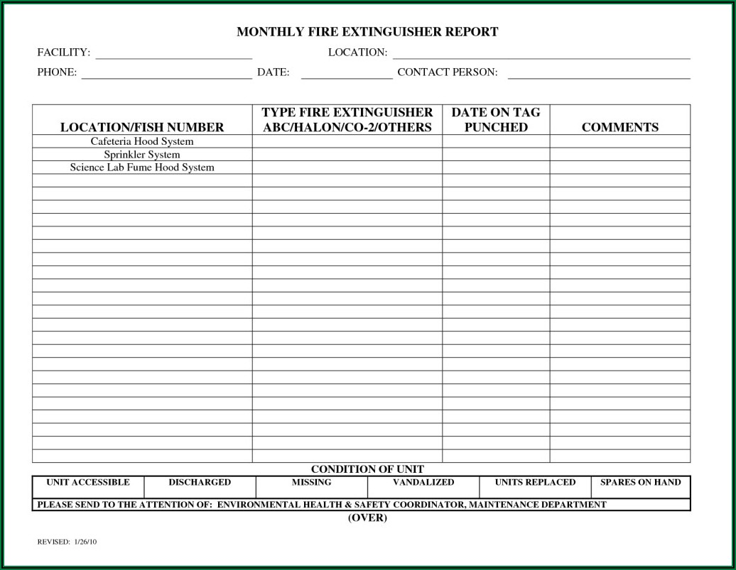 Fire Extinguisher Inspection Report Template