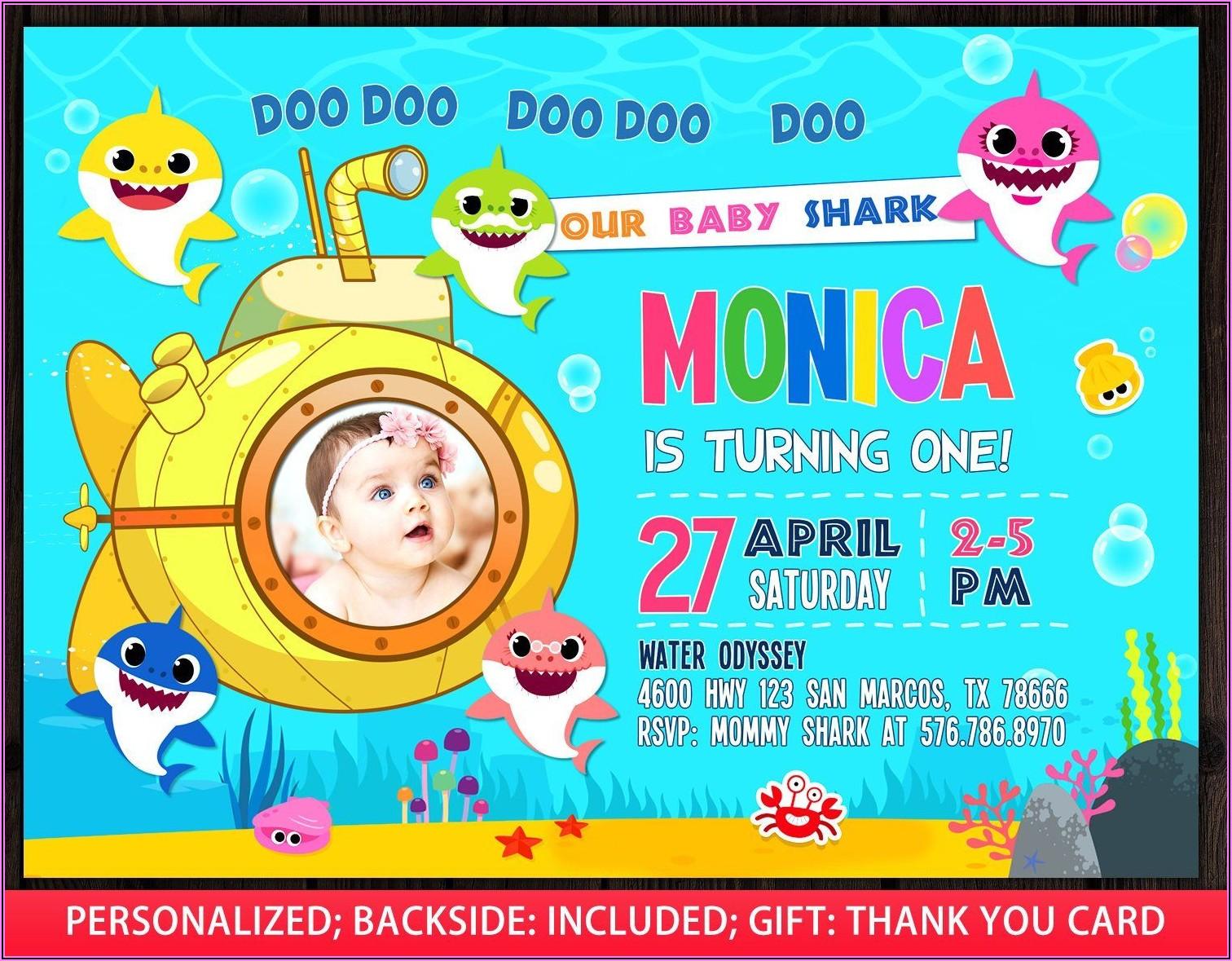 First Birthday Baby Shark Invitation Free