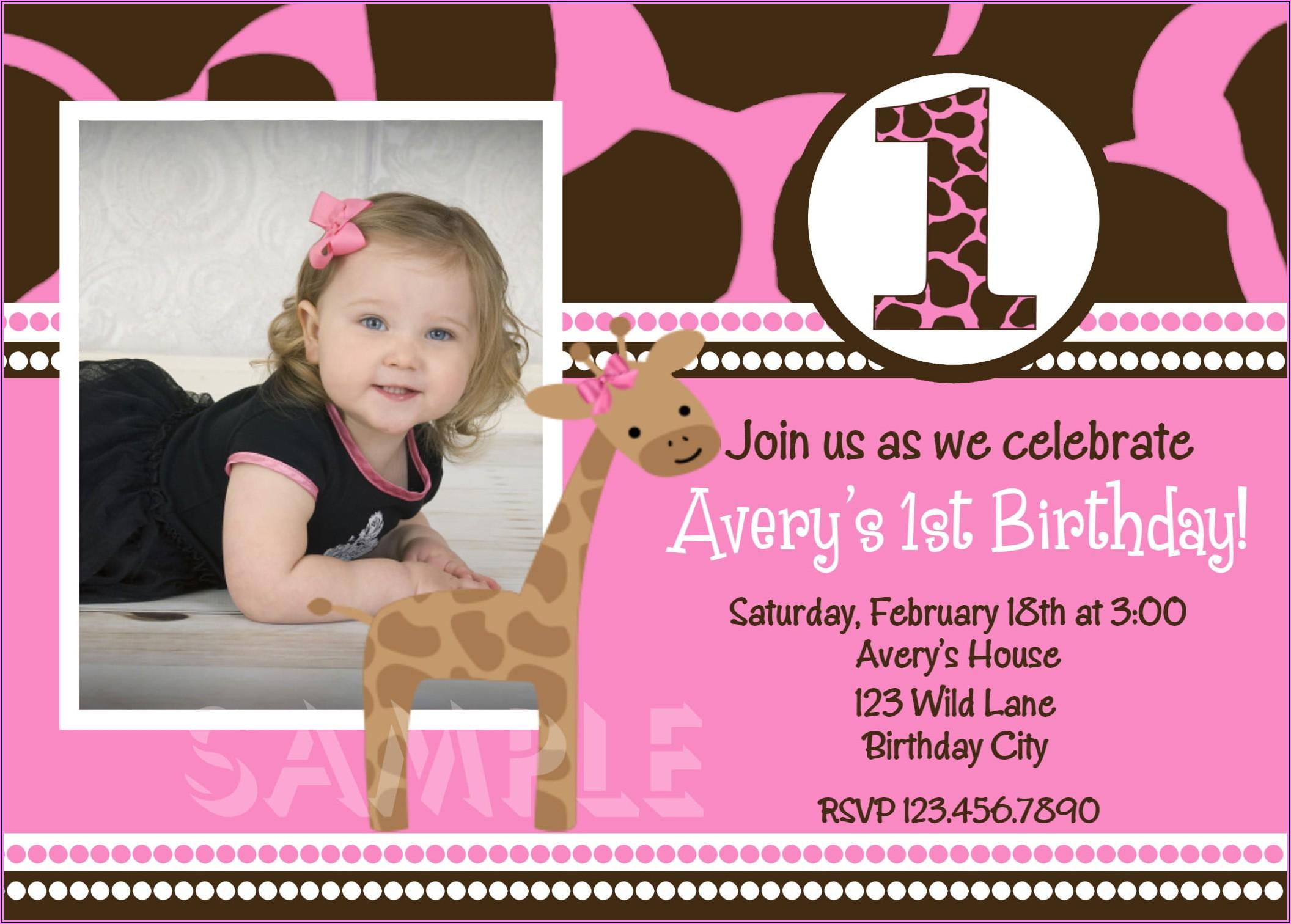 First Birthday Invitations Girl Free