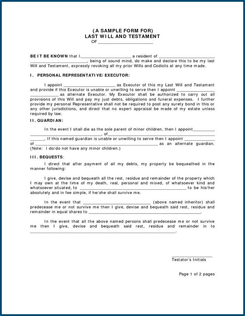Florida Last Will And Testament Template