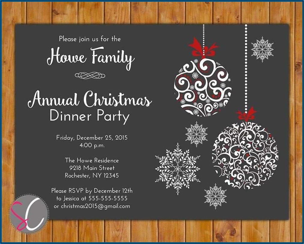Free Christmas Dinner Party Invitation Templates