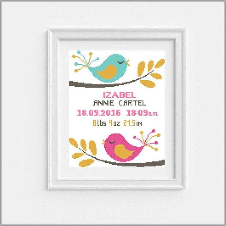 Free Cross Stitch Patterns For Babies Birth Announcement
