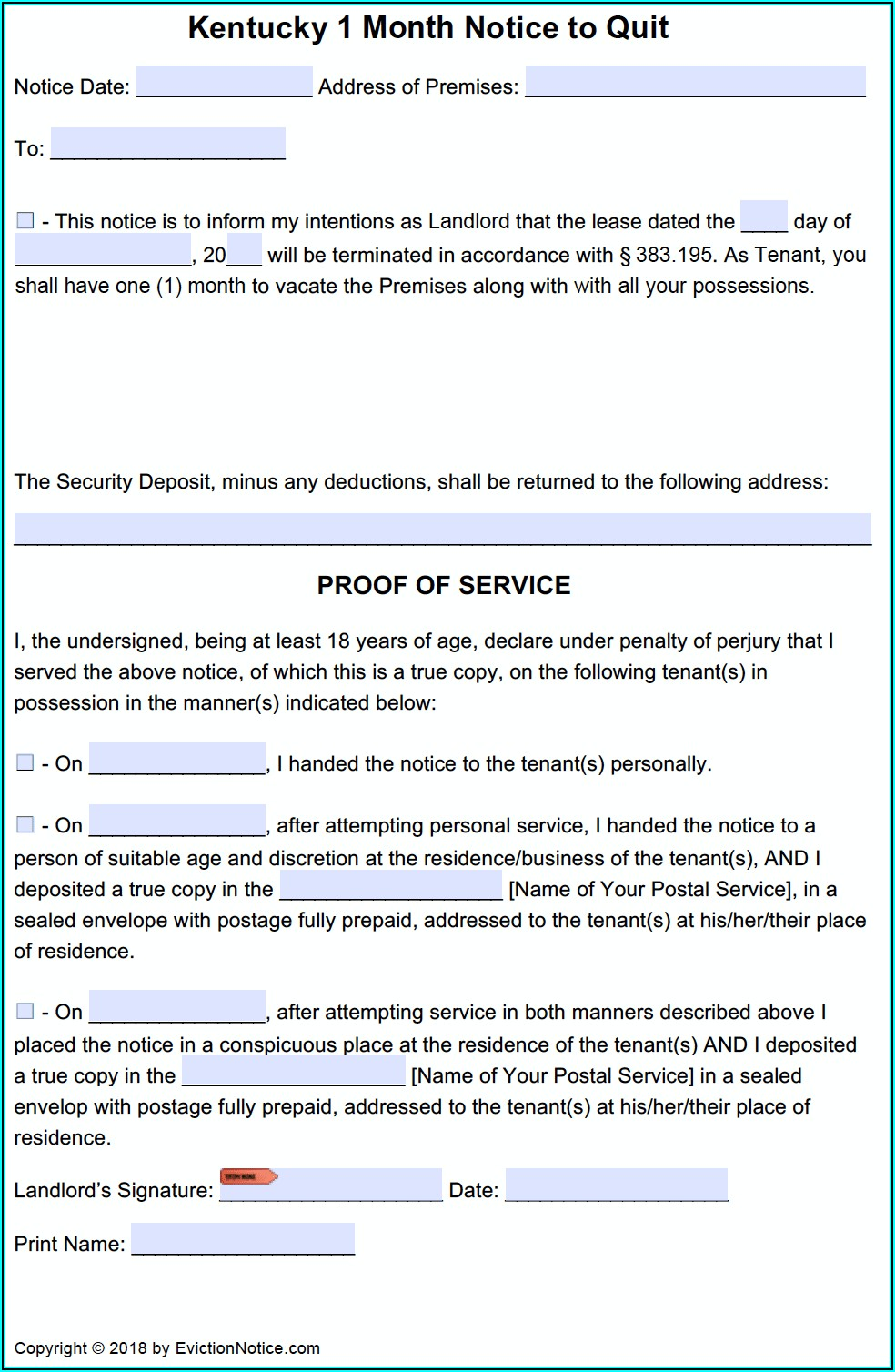 Free Ky Eviction Notice Form
