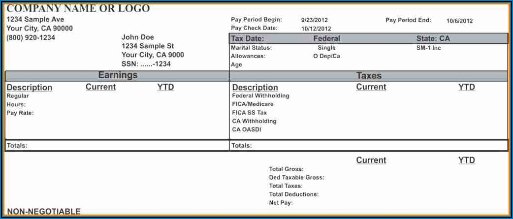 Free Online Pay Stub Template