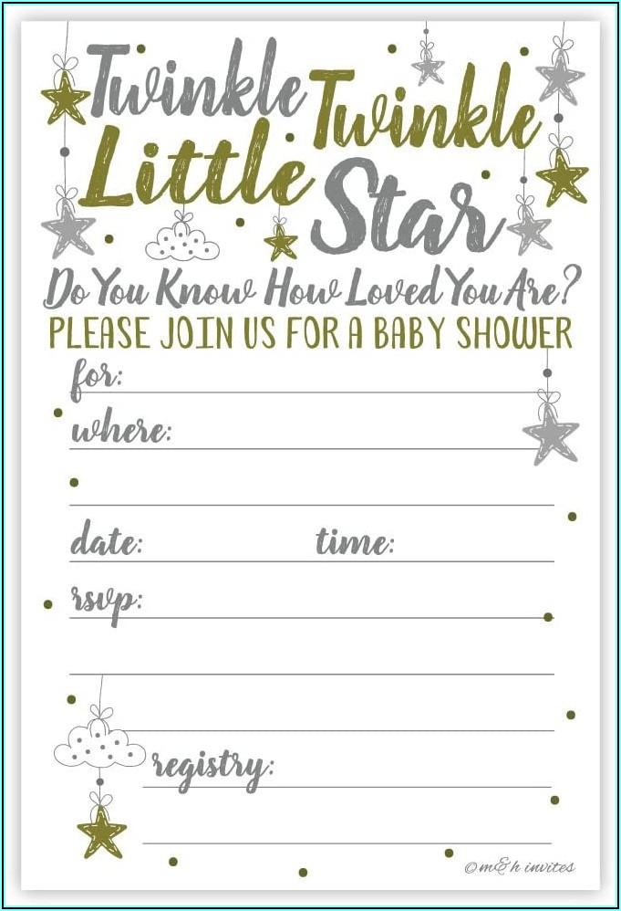 Free Printable Twinkle Twinkle Little Star Gender Reveal Invitations