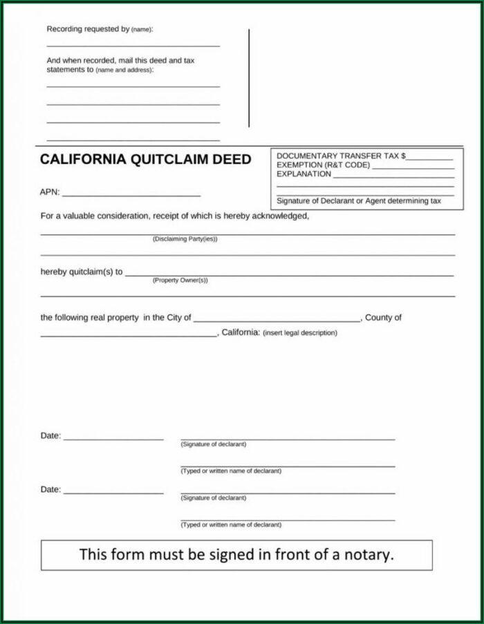 Free Quit Claim Deed Form Ohio