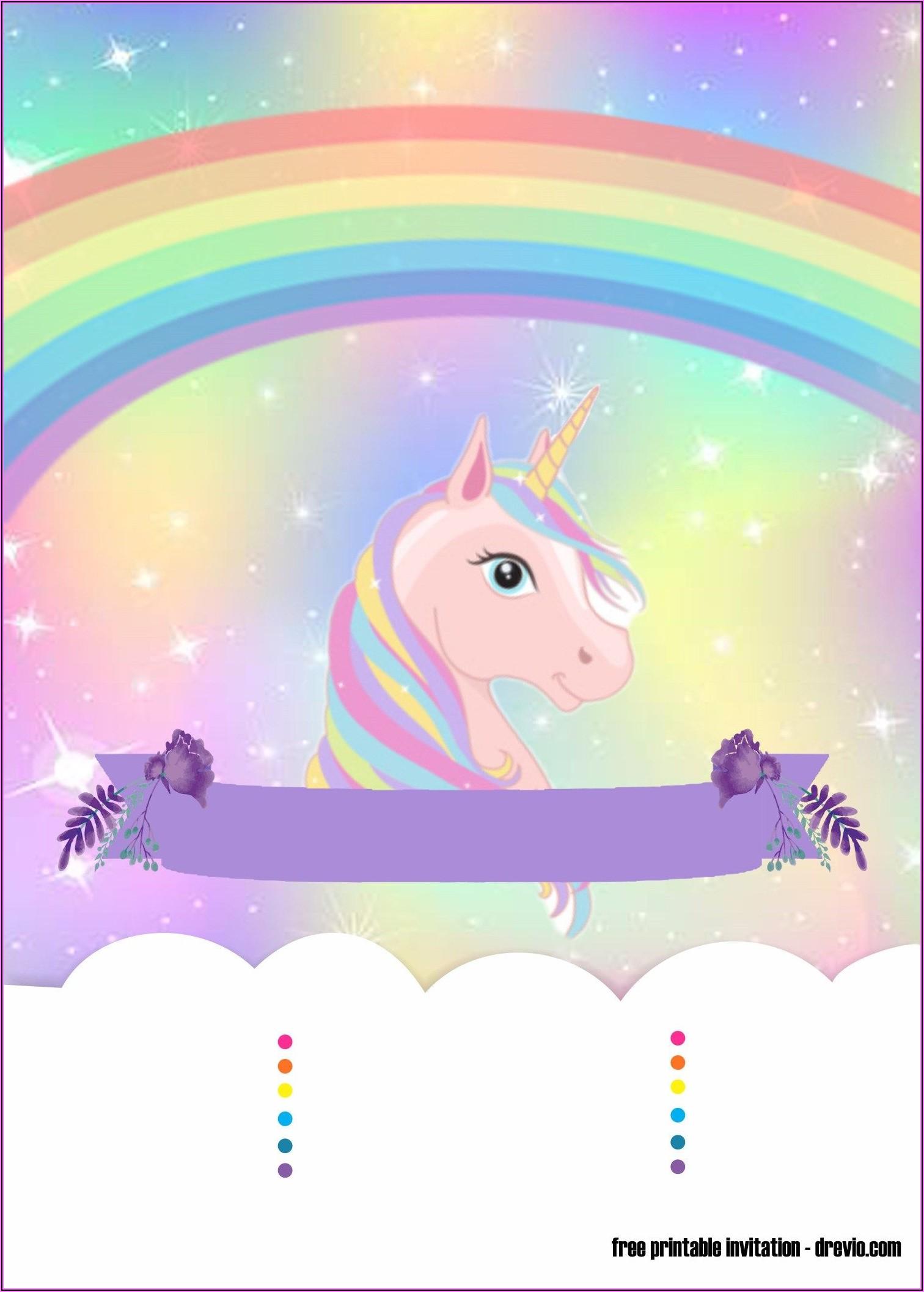 Free Rainbow Unicorn Party Invitations