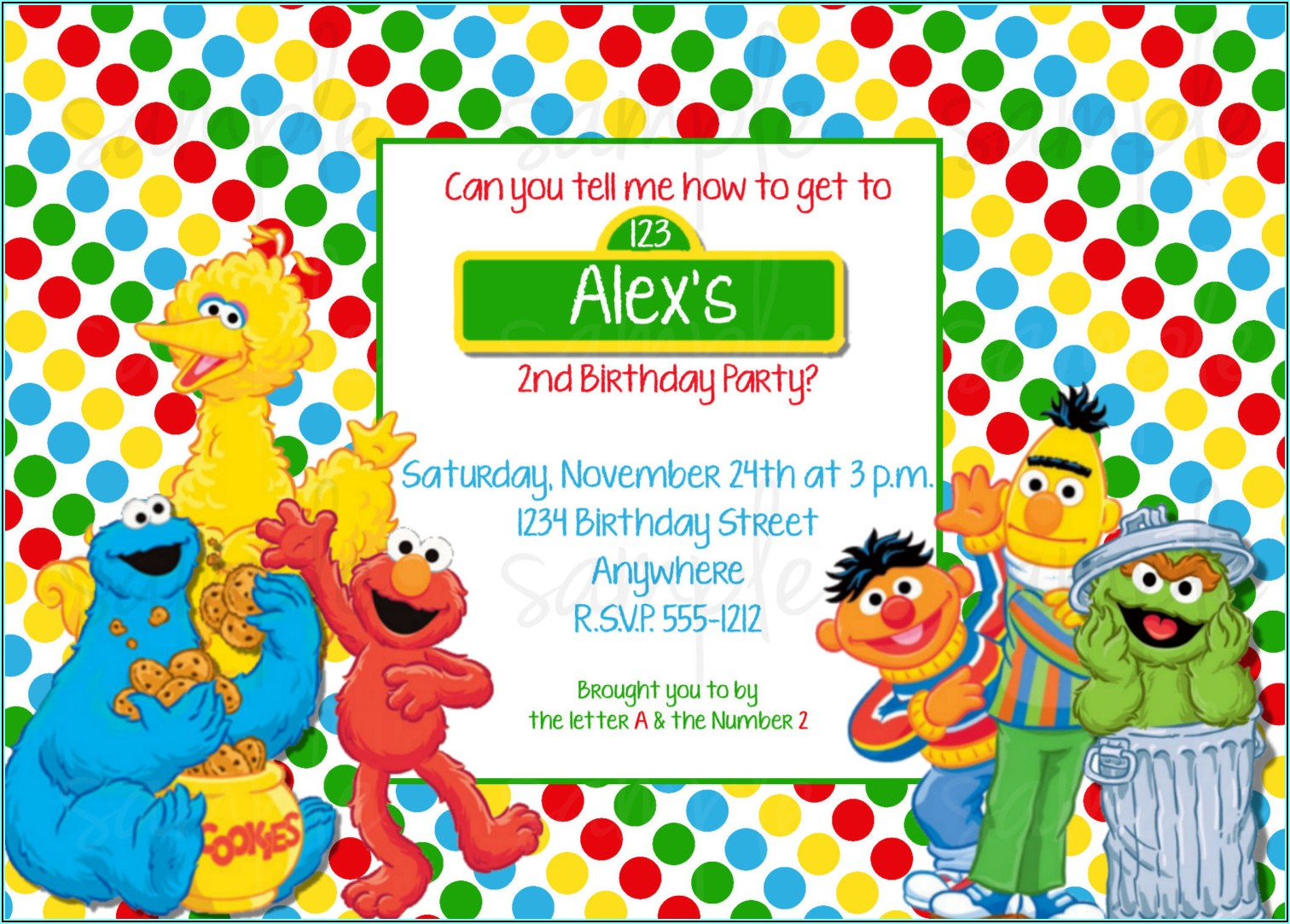 Free Sesame Street 1st Birthday Invitations