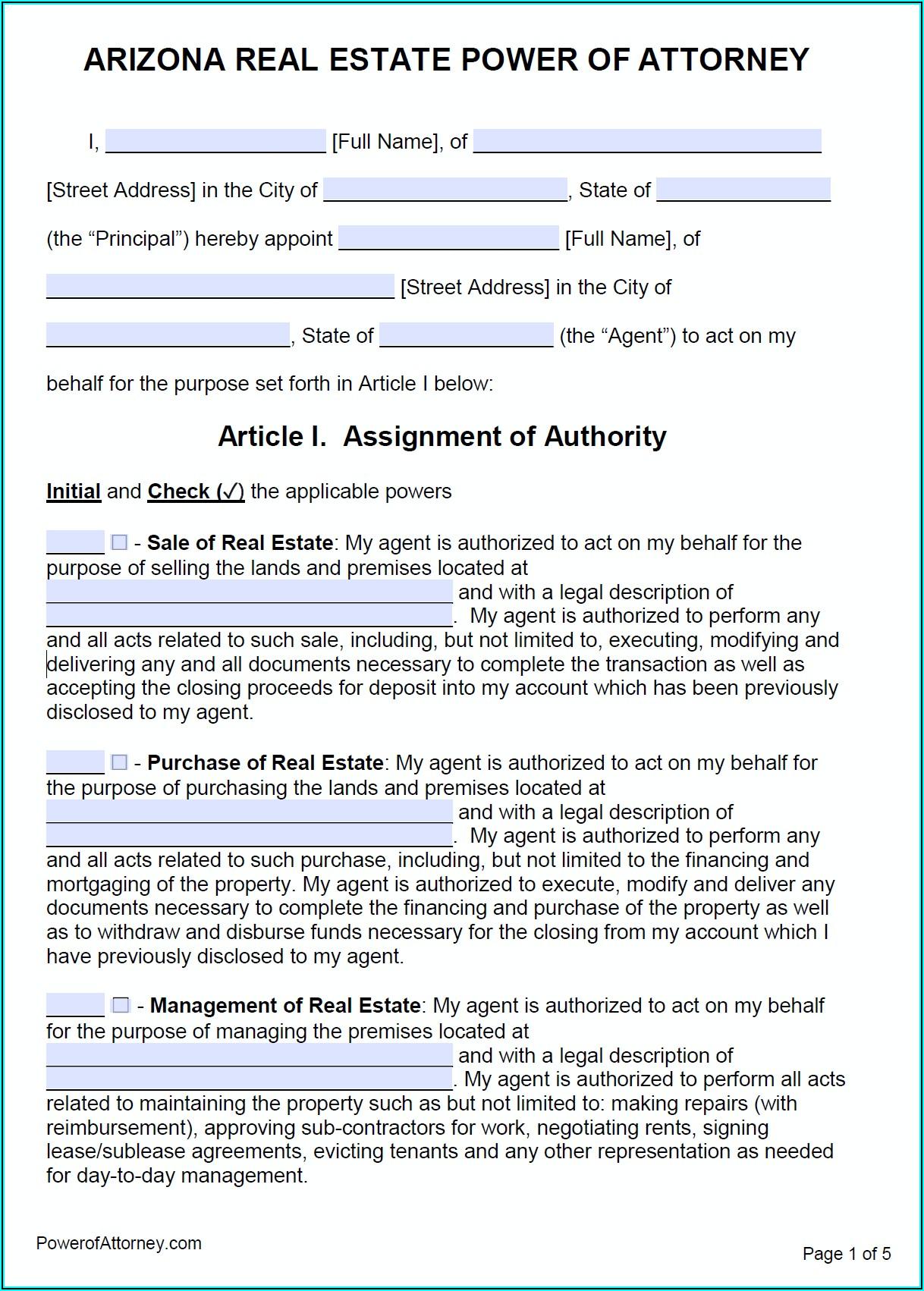 General Power Of Attorney Form Pima County Az