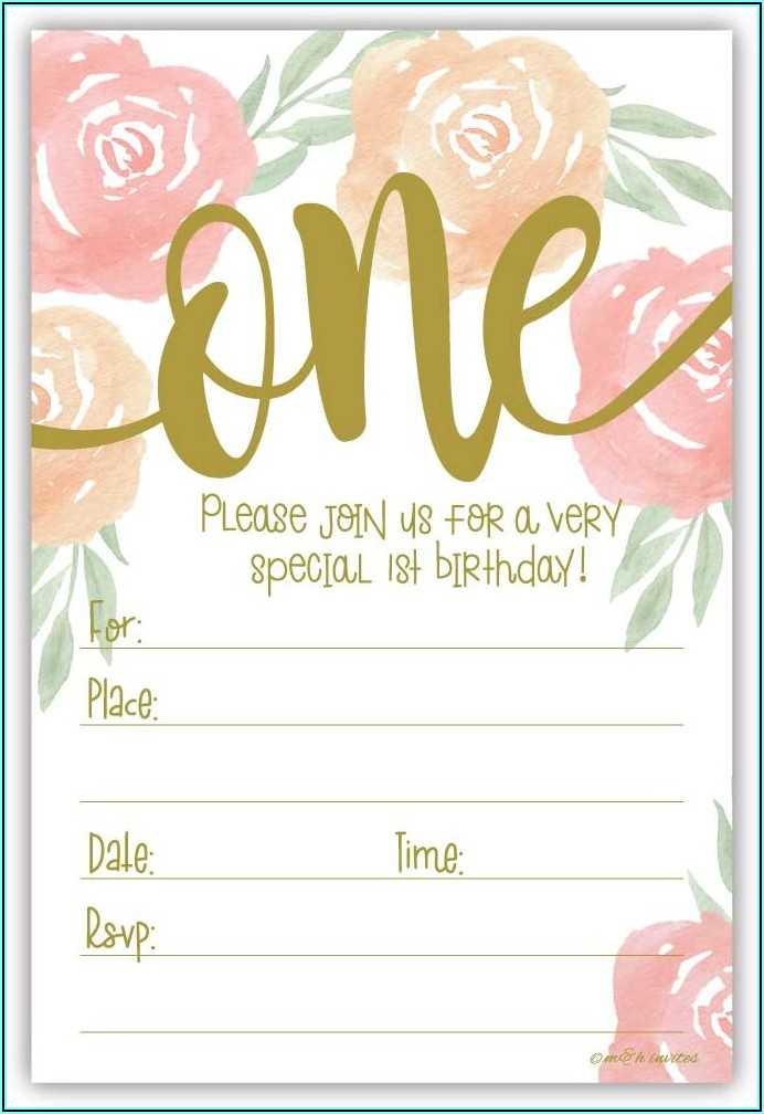 Girl 1st Birthday Invitations