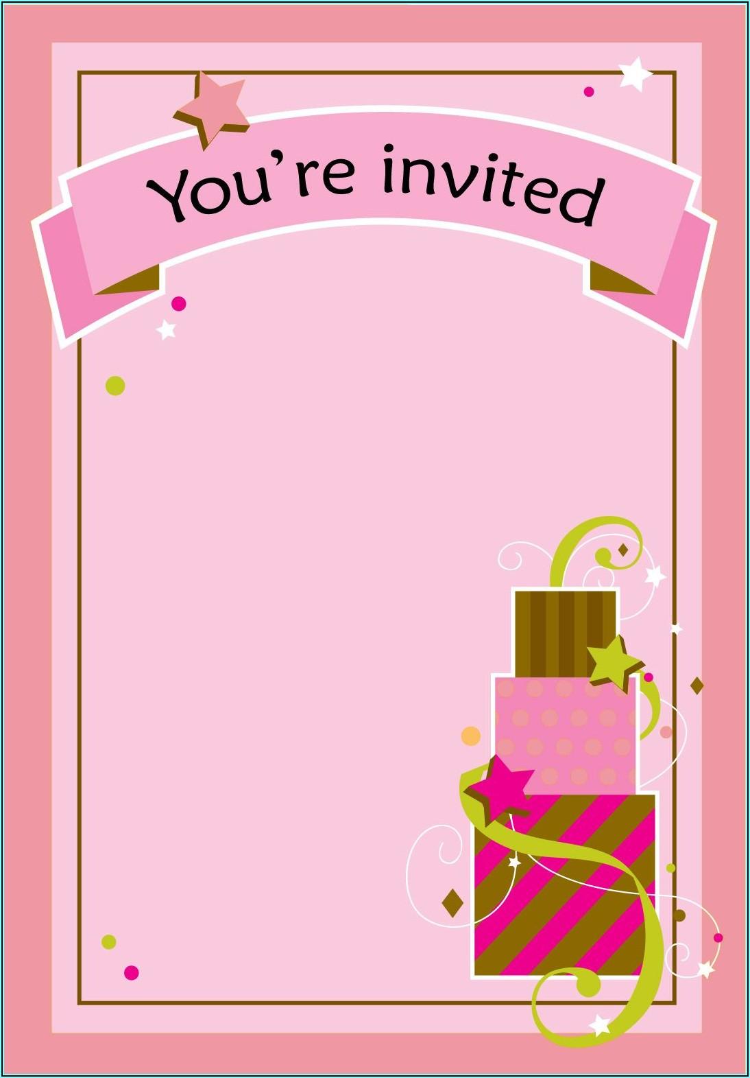 Girl Birthday Invitations Printable Free