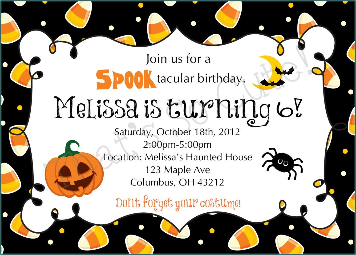 Halloween Birthday Invites Free