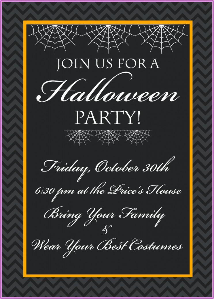 Halloween Invitation Wording + Bring Food