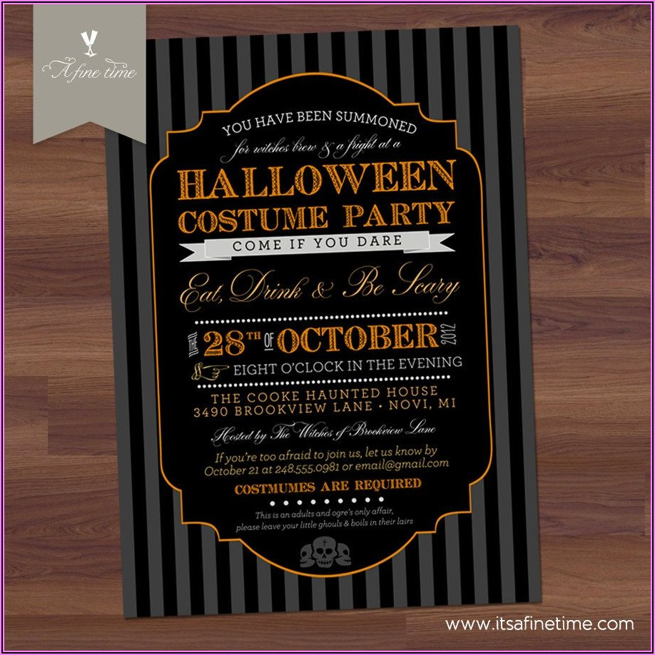 Halloween Party Invitation Wording Adults